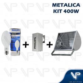 KIT PROJETOR EM ALUMINIO C/LAMPADA OVOIDE E REATOR METALICO PHILIPS 400W E40
