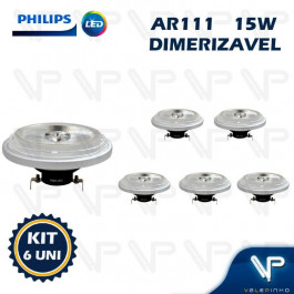 LAMPADA LED AR111 PHILIPS 15W 12V 40G 2700K(BRANCO QUENTE)G53 DIMERIZÁVEL KIT6