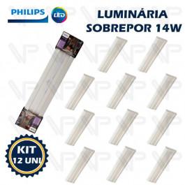 LUMINARIA LED SOBREPOR 60CM PHILIPS 14W 6500K(BRANCO FRIO)BIVOLT SM060 KIT12