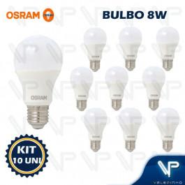 LÂMPADA LED BULBO OSRAM 8W 6500K(BRANCO FRIO)E27 BIVOLT KIT10