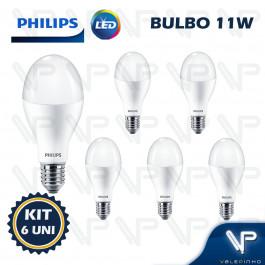 LÂMPADA LED BULBO PHILIPS 11W 3000K(BRANCO QUENTE)E27 BIVOLT KIT6