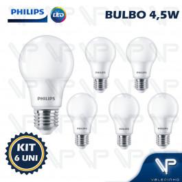 LÂMPADA LED BULBO PHILIPS 4,5W 6500K(BRANCO FRIO)E27 BIVOLT KIT6