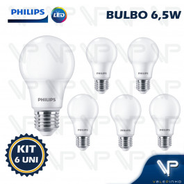 LÂMPADA LED BULBO PHILIPS 6,5W 3000K(BRANCO QUENTE)E27 BIVOLT KIT6