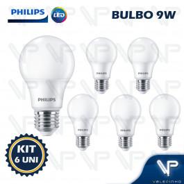 LÂMPADA LED BULBO PHILIPS 9W 3000K(BRANCO QUENTE)E27 BIVOLT KIT6