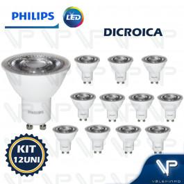 LÂMPADA LED DICROICA PHILIPS 5,2W 127V 2700K(BRANCO QUENTE)GU10 25G DIMERIZÁVEL KIT12