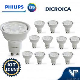 LÂMPADA LED DICROICA PHILIPS 6,5W BIVOLT 2700K(BRANCO QUENTE)GU10 36G KIT12