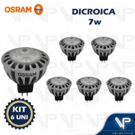 LÂMPADA LED DICRÓICA OSRAM MR16 7W 12V 36G 3000K(BRANCO QUENTE)GU5.3 PARATHOM KIT6