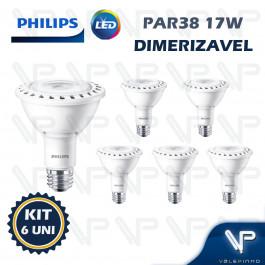 LÂMPADA LED PAR38 PHILIPS 17W 127V 2700K(BRANCO QUENTE)E27 DIMERIZÁVEL KIT6