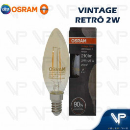 LÂMPADA LED VINTAGE OSRAM   2W 2500K(BRANCO QUENTE)E14 BIVOLT VELA(C35)
