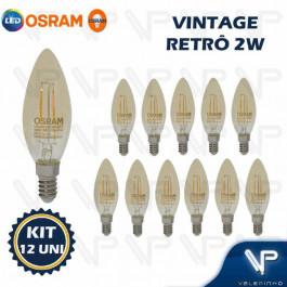 LÂMPADA LED VINTAGE OSRAM   2W 2500K(BRANCO QUENTE)E14 BIVOLT VELA(C35)KIT12