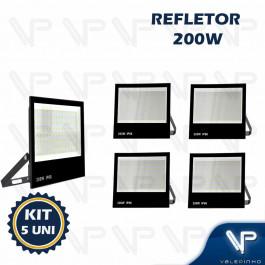 REFLETOR HOLOFOTE LED SMD   200W 6500K(BRANCO FRIO)BIVOLT IP66 KIT5