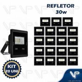 REFLETOR HOLOFOTE LED SMD     30W 6500K(BRANCO FRIO)BIVOLT IP66 KIT20