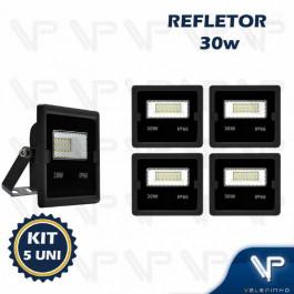 REFLETOR HOLOFOTE LED SMD     30W 6500K(BRANCO FRIO)BIVOLT IP66 KIT5