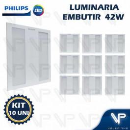 PAINEL PLAFON LED PHILIPS 42W EMBUTIR 60X60CM 3000K(BRANCO QUENTE) BIVOLT  KIT10