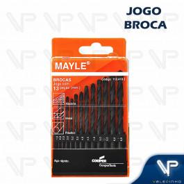 BROCA DE AÇO RÁPIDO HELICOIDAL MAYLE 1.5mm A 6.5mm C/13PÇS