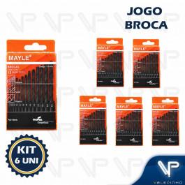 BROCA DE AÇO RÁPIDO HELICOIDAL MAYLE 1.5mm A 6.5mm C/13PÇS KIT6