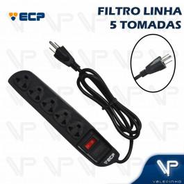 FILTRO DE LINHA  4 TOMADAS 2P+T BIVOLT C/1MT PLASTICO PRETO