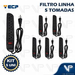 FILTRO DE LINHA  4 TOMADAS 2P+T BIVOLT C/1MT PLASTICO PRETO KIT5