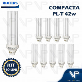 LÂMPADA COMPACTA PHILIPS PLT 4PINOS 42W 4000K(BRANCO NEUTRO)GX24Q-4 KIT10