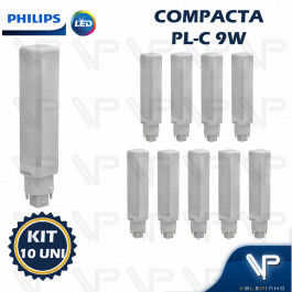 LÂMPADA LED COMPACTA PLC 4PINOS PHILIPS 9W 4000K(BRANCO NEUTRO)G24Q-3 COREPRO KIT10