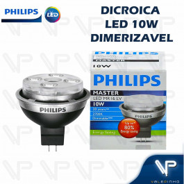 LÂMPADA LED MR16 PHILIPS     10W 12V 15G 2700K(BRANCO QUENTE)GU5.3 DIMERIZÁVEL
