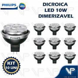 LÂMPADA LED MR16 PHILIPS     10W 12V 15G 2700K(BRANCO QUENTE)GU5.3 DIMERIZÁVEL KIT10
