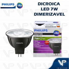 LÂMPADA LED MR16 PHILIPS      7W 12V 10G 2700K(BRANCO QUENTE)GU5.3 DIMERIZÁVEL