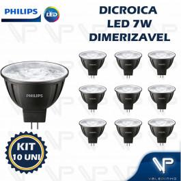 LÂMPADA LED MR16 PHILIPS      7W 12V 10G 2700K(BRANCO QUENTE)GU5.3 DIMERIZÁVEL KIT10