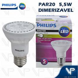 LÂMPADA LED PAR20 PHILIPS 5,5W 220V 2700K(BRANCO QUENTE)E27 DIMERIZÁVEL