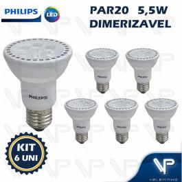 LÂMPADA LED PAR20 PHILIPS 5,5W 220V 2700K(BRANCO QUENTE)E27 DIMERIZÁVEL KIT6