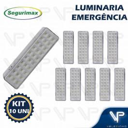LUMINÁRIA DE EMERGÊNCIA 30 LEDS 6500K(BRANCO FRIO) BIVOLT KIT10