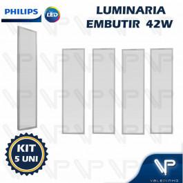 PAINEL PLAFON LED PHILIPS 42W EMBUTIR 120X30CM  3000K(BRANCO QUENTE) BIVOLT  KIT5