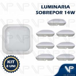 PLAFON ARANDELA HERMETICA LED SMD 14W SOBREPOR QUADRADO 4000K(BRANCO NEUTRO) BIVOLT IP66 KIT8