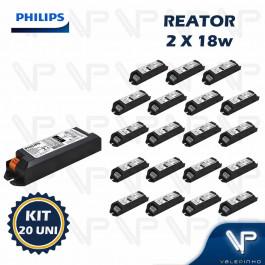 REATOR ELETRÔNICO PHILIPS P/LÂMPADA COMPACTA 2x18W 220V PLT/C KIT20