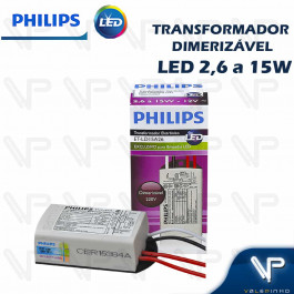 TRANSFORMADOR DRIVER ELETRÔNICO DIMERIZÁVEL PHILIPS PARA LED 2,6W a 15W  12Vdc 220V