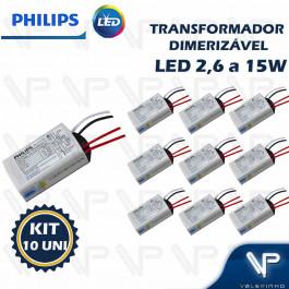 TRANSFORMADOR DRIVER ELETRÔNICO DIMERIZÁVEL PHILIPS PARA LED 2,6W a 15W  12Vdc 220V KIT10