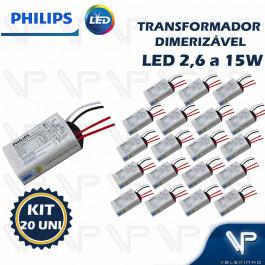 TRANSFORMADOR DRIVER ELETRÔNICO DIMERIZÁVEL PHILIPS PARA LED 2,6W a 15W  12Vdc 220V KIT20