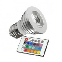 LÂMPADA LED DICRÓICA MR16   3W RGB(COM CONTROLE)E27 BIVOLT