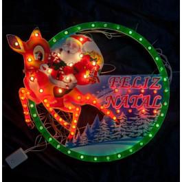 PAINEL CIRCULAR PAPAI NOEL COM RENA 75 LEDS 220V 8 Funções 40cm