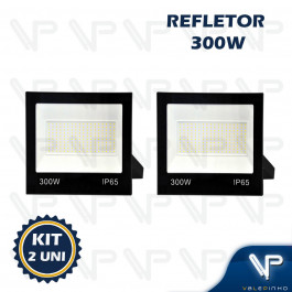 REFLETOR HOLOFOTE LED SMD   300W 6500K(BRANCO FRIO)BIVOLT IP66 KIT2