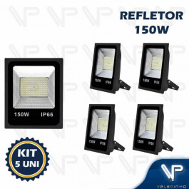 REFLETOR HOLOFOTE LED SMD   150W 6500K(BRANCO FRIO)BIVOLT IP66 KIT5