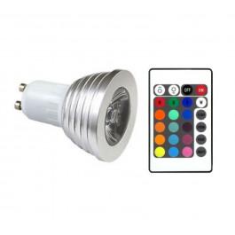 LÂMPADA LED DICRÓICA MR16   3W RGB(COM CONTROLE)GU10 BIVOLT